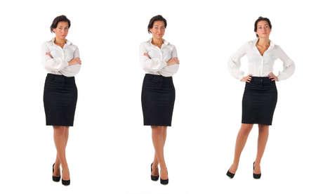 blusa: Oscuro blusa blanca de pelo y la falda vestido negro joven mujer de negocios aislados sobre fondo blanco. Tres actitudes