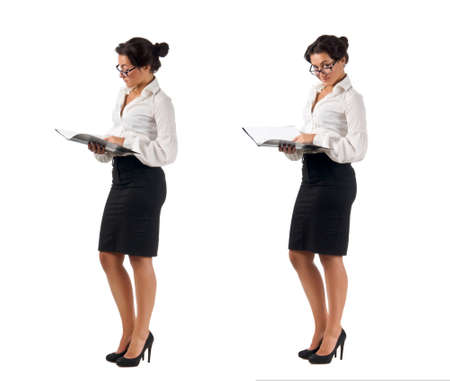 Dark haired white blouse and black skirt dressed  young business woman with black folder on white background. Two poses
