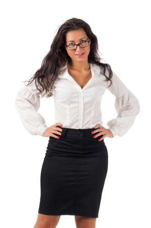 Dark haired white blouse and black skirt dressed  young business woman with black glasses on white background photo