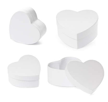 pasteboard: Set of pasteboard heart shaped gift boxes isolated on white background
