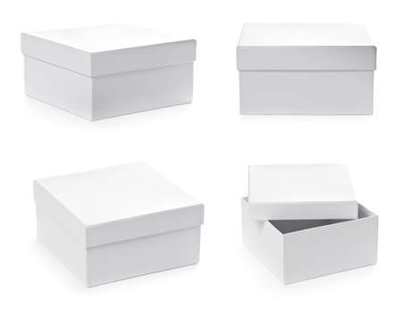 Set of square pasteboard gift boxes isolated on white background. Different views.