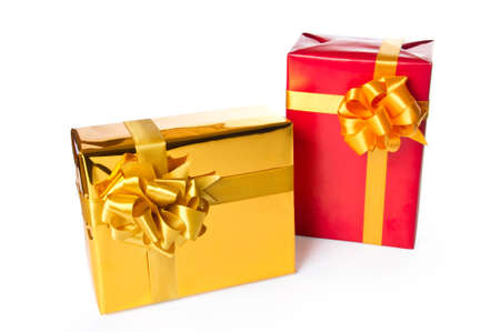Two gift boxes isolated on white background photo