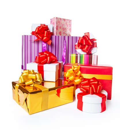 Heap of gift boxes on white background photo