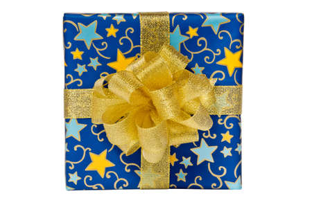 Blue gift box with golden bow and ribbon isolated on white background