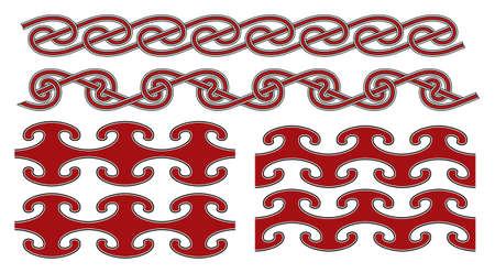 Set of vector seamless ancient celtic design elements Illustration