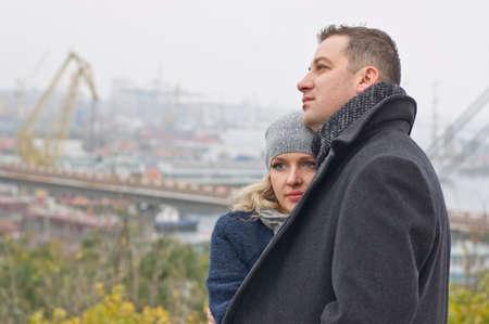 Date  Outdoor hugging pair  Autumn