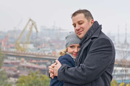 Date  Outdoor hugging pair smiles  Autumn Stock Photo - 16932717