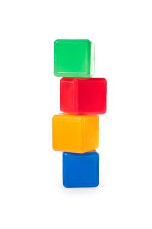 Plastic childrens colored cubes