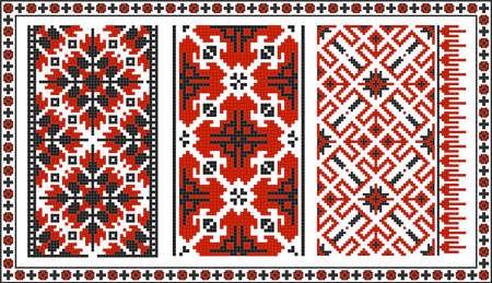 ukrainian traditional: Set of seamless Ukrainian traditional patterns. Black and red