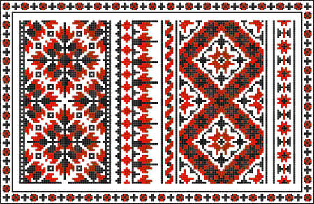 indigenous culture: Set of seamless Ukrainian traditional patterns. Black and red