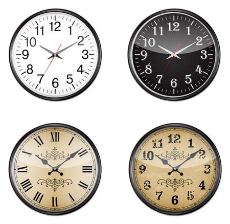 Set of vector wall mount clocks Stock Photo