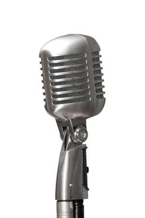 Retro microphone on white background Stock Photo