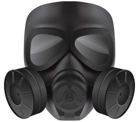 exhaust gases: Vector black gas mask