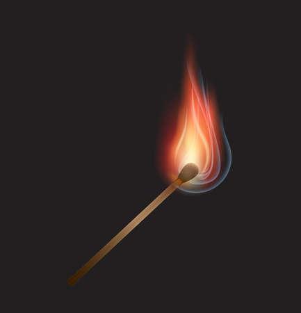 Vector burning match on black background Stock Photo