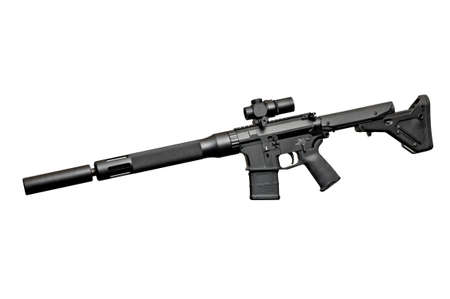 the silencer: Assault semi-automatic rifle with silencer on white background isolated with clipping path. Left side. Stock Photo