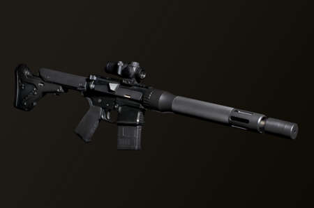 the silencer: Assault semi-automatic rifle with short silencer on dark background isolated with clipping path. Stock Photo