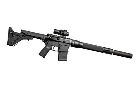 silencer: Assault semi-automatic rifle with silencer on white background isolated with clipping path. Right side. Stock Photo