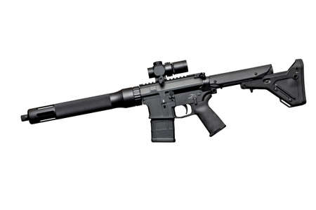 Assault semi-automatic rifle on white background isolated with clipping path. Left side.