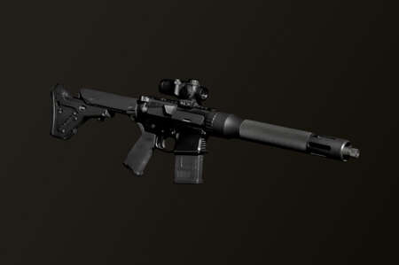 Assault semi-automatic rifle on dark background isolated with clipping path.