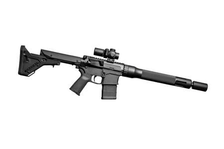 the silencer: Assault semi-automatic rifle with short silencer on white background isolated with clipping path. Right side.