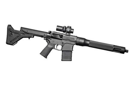 Assault semi-automatic rifle on white background isolated with clipping path. Right side.