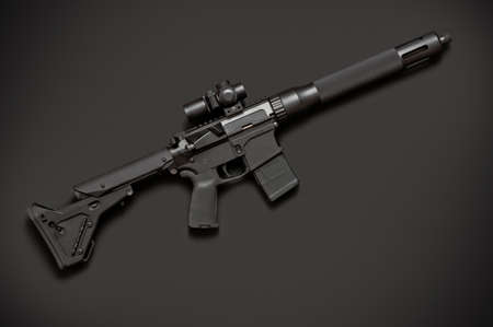 Assault semi-automatic rifle on dark grey background. Right side.