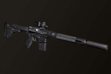 the silencer: Assault semi-automatic rifle with silencer on dark background isolated with clipping path.