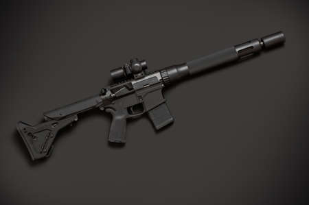 the silencer: Assault semi-automatic rifle with short silencer on dark background. Right side.