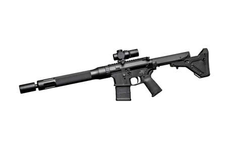 the silencer: Assault semi-automatic rifle with short silencer on white background isolated with clipping path. Left side. Stock Photo