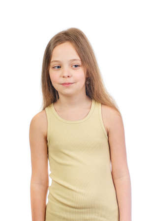Young cute mysteriously smiling girl with long light brown hair isolated on white background Stock fotó