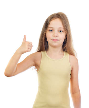 Young cute smiling girl with long light brown hair shows thumbs up isolated on white background