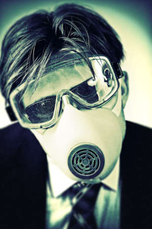 Crazy man in protective mask and neck tie. High contrast colors. Stock Photo - 5061238