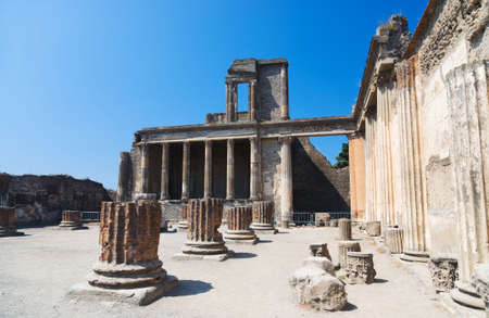 ruinous: Ruins of Pompeii Italy. Ruinous columns. Stock Photo