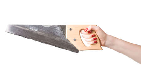 Woman hand with saw. Isolated on white. Stock Photo - 5097508