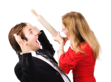 beat women: Man and woman conflict. Isolated on white.