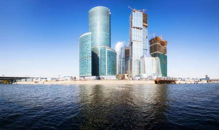 futuristic city: Moscow city business center. Panorama. Stock Photo