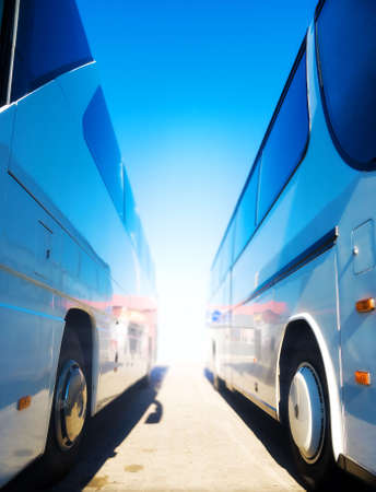 two wheel: Two tourist buses. Wide angle view. Stock Photo