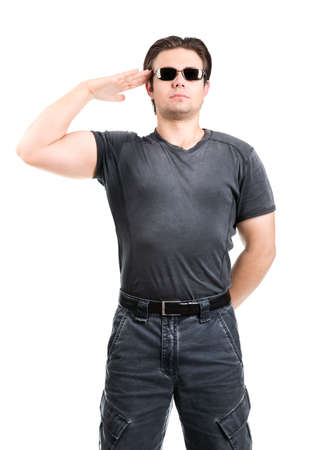 Strong man salute. Isolated on white. photo