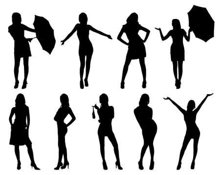 Nine woman silhouettes. On white. photo