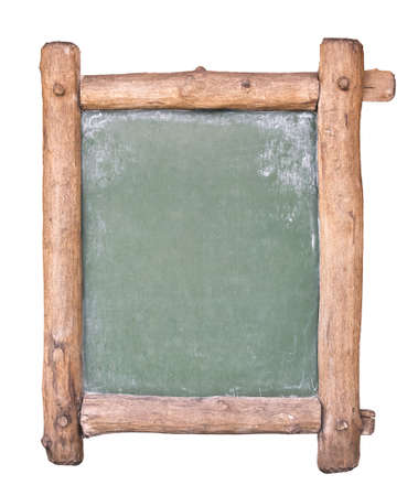 wooden beams: Small blackboard with wooden frame. Isolated on white.
