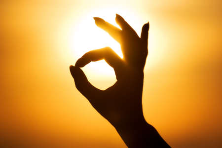 Ok hand sign silhouette. On bright sun background.