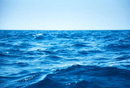 surface view: Blue sea waves closeup view. Stock Photo