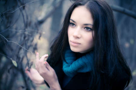 tint: Young woman portrait. Soft yellow and blue tint. Stock Photo