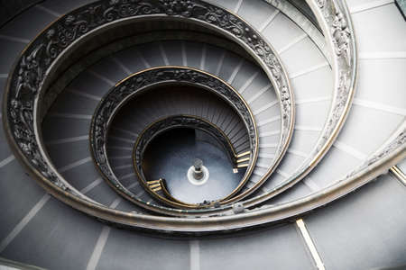 Staircase in Vatican museum. Wide angle view. Stock Photo
