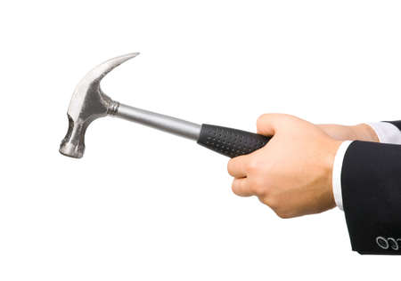 Man hand with hammer. Isolated on white. photo