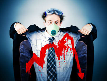 Economical crisis concept. Crazy businessman in protective mask with bloody graph. photo