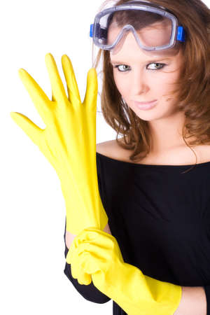 workwoman: Woman worker with yellow rubber gloves. Isolated on white.