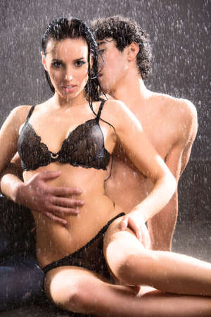 Young sexy couple. Water studio . Stock Photo - 5242648