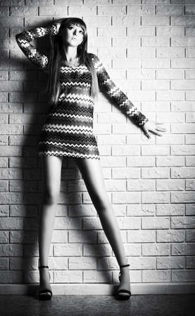 Young sexy woman on brick wall background. Black and white. Stock Photo - 5242619