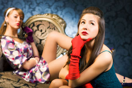 Retro glamour. Two young women. Stock Photo - 5265247